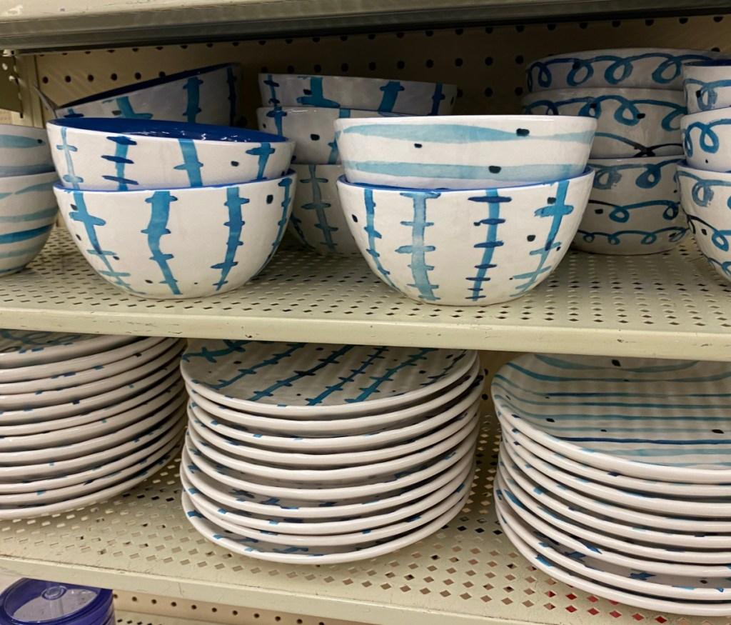 watercolor dinnerware on display in-store