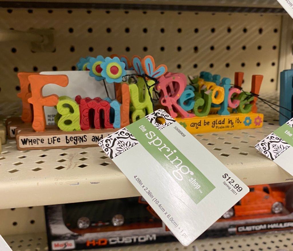 family themed colorful decor on clearance in-store