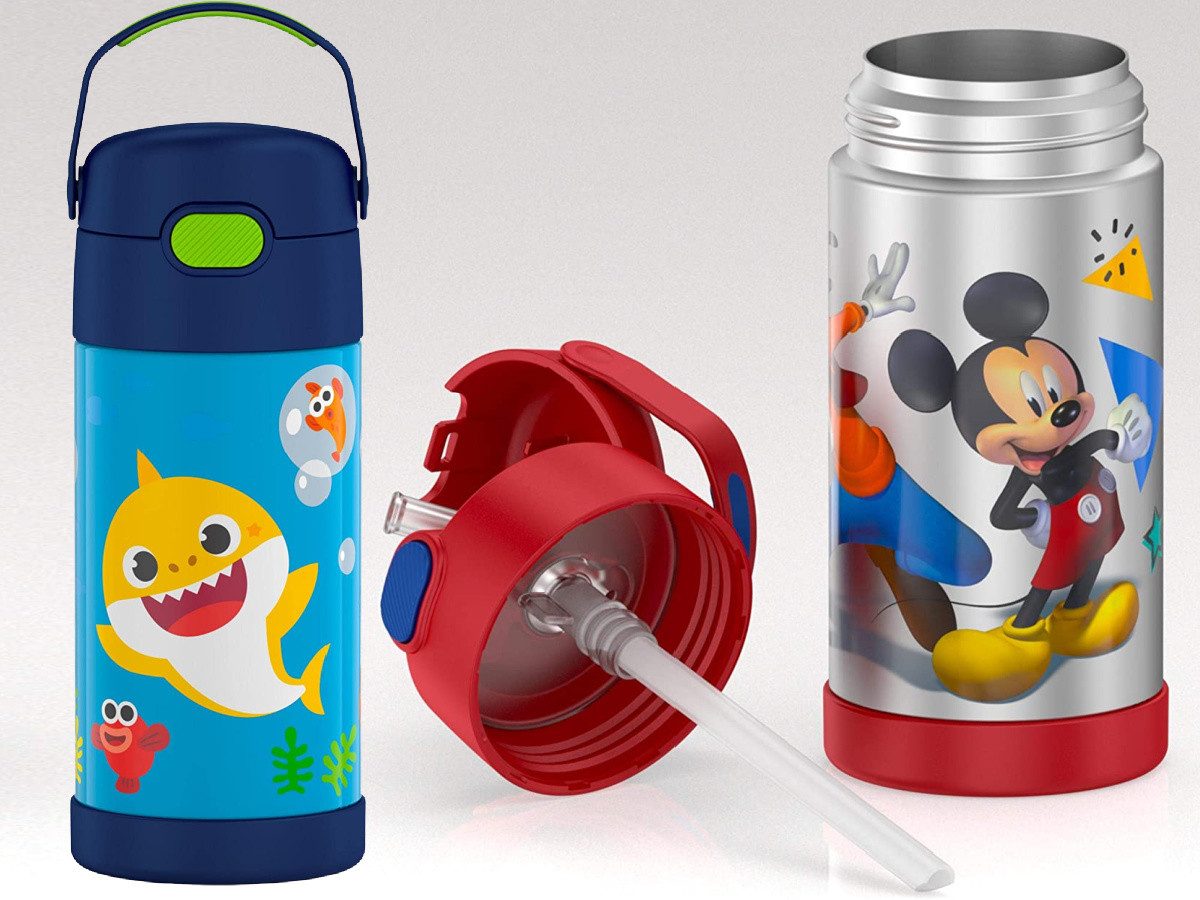 baby shark and mickey mouse stainless steel thermos water bottles