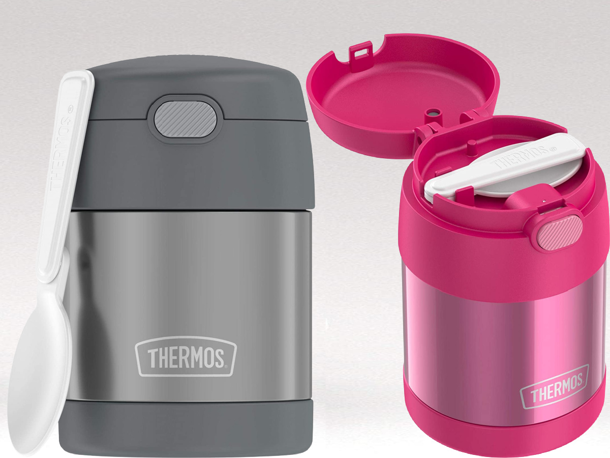 stock images of a gray and a pink thermos container with spoon