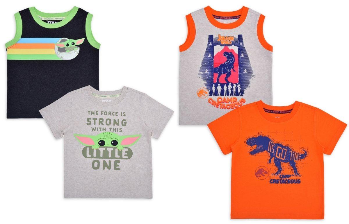 baby yoda and jurassic park t shirt and tank top set