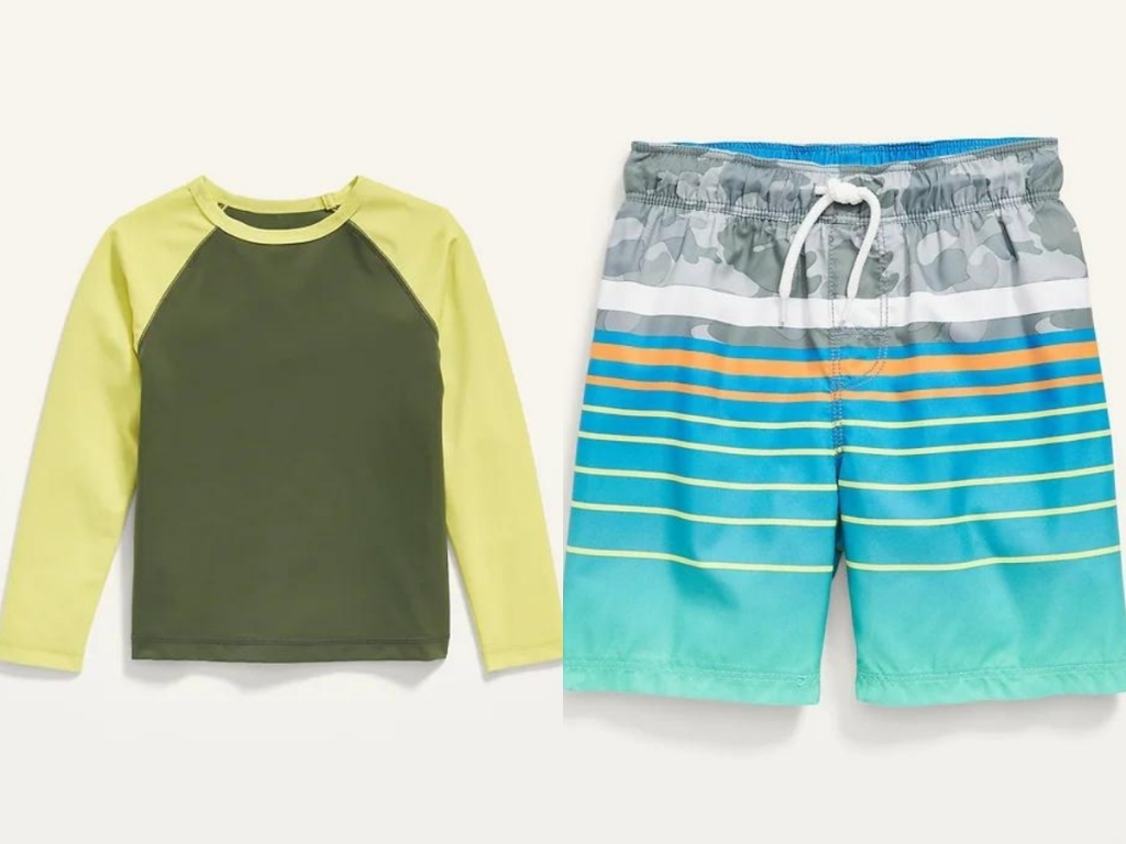 old navy toddler boys rashguard and swim trunks
