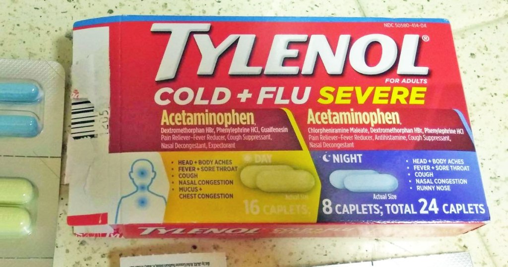 red tylenol cold medicine box on counter