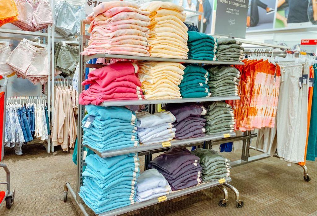 display of sweatshirts at Target