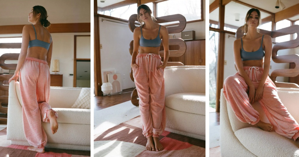 woman wearing pink colored jogger sweat pants