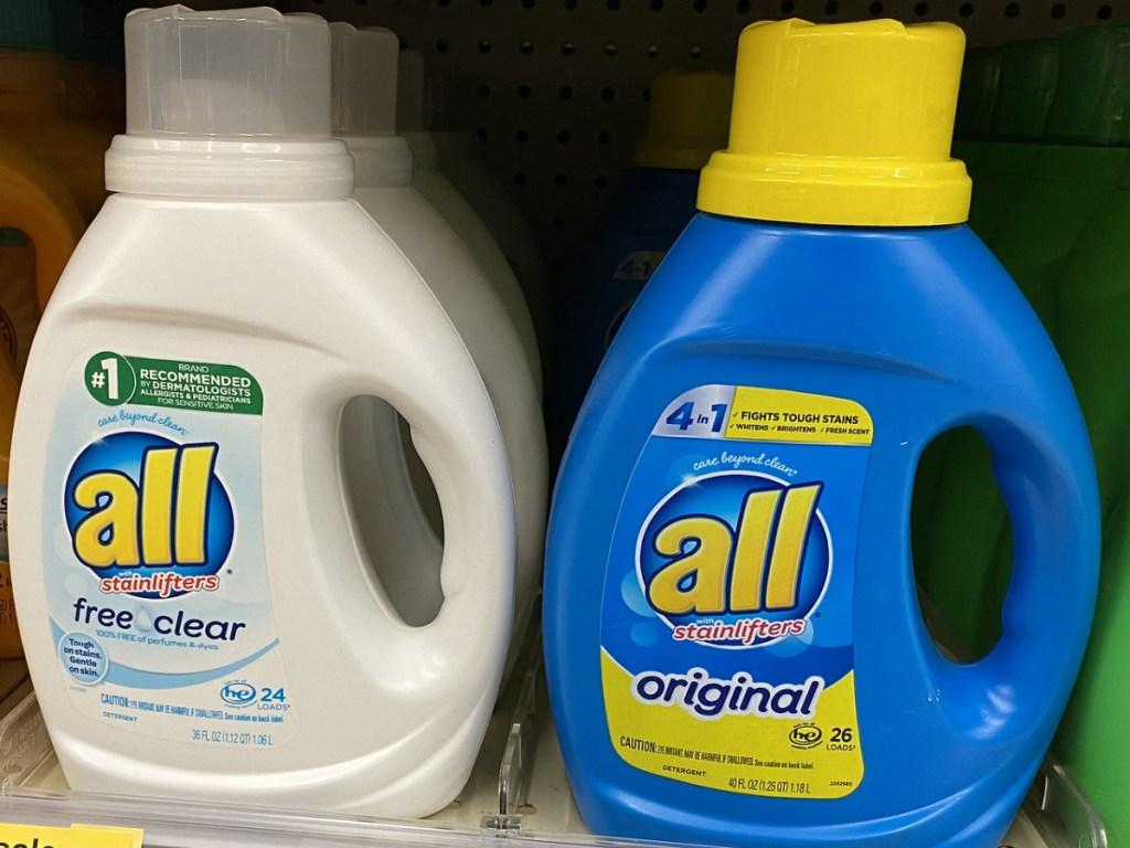 2 bottles of all laundry detergent on store shelf