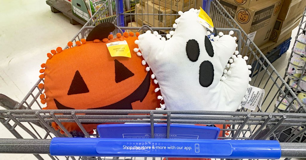 jackolantern and ghost pillow in walmart cart