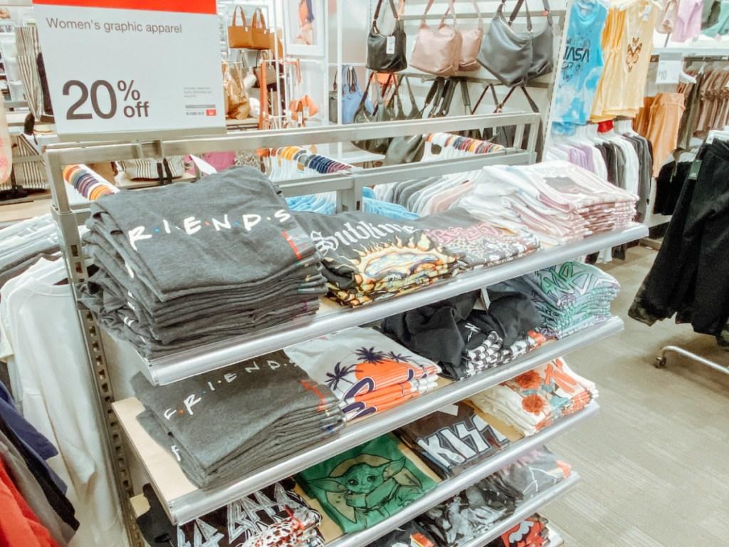 women's graphic tee display at target