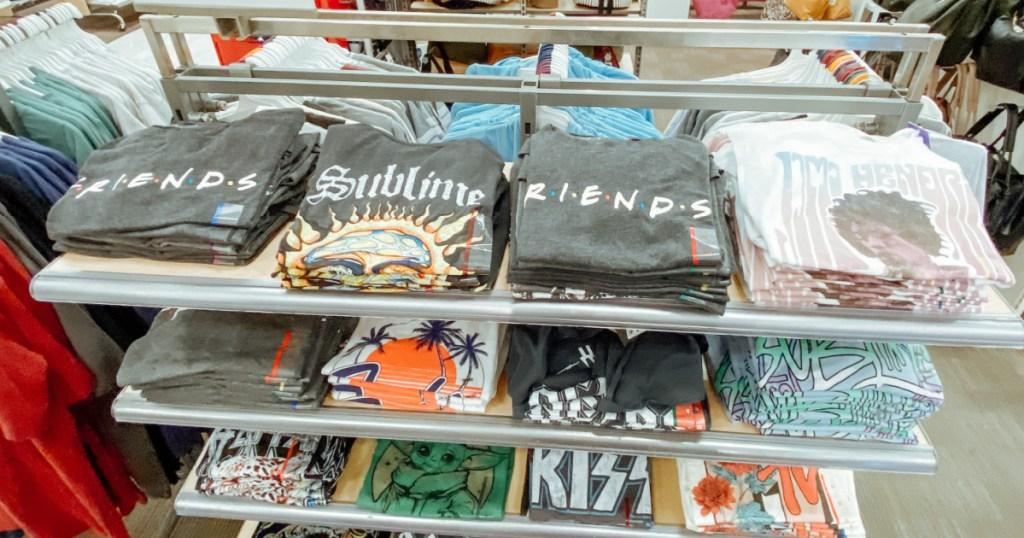 women's graphic tees on target store shelf