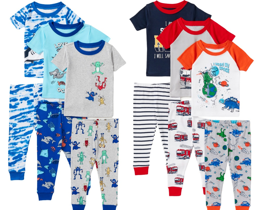 Wonder Nation Baby Toddler Boys Snug Fit Cotton Pajamas 6pc Set