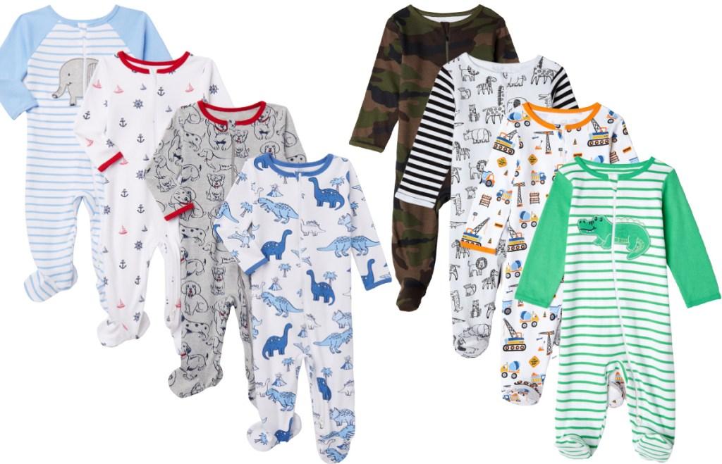 Wonder Nation Newborn Baby Boy Sleep and Play Pajamas 4pc Set
