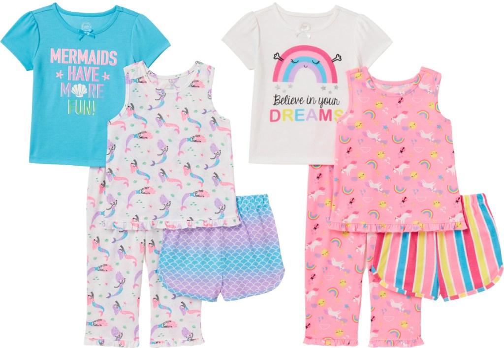 Wonder Nation Toddler Girls Short Sleeve & Tank Top Poly Pajamas 4pc Set