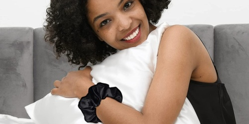 Satin Pillowcase 2-Pack AND Matching Hair Scrunchies Only $11 on Amazon | Prevents Wrinkles & Hair Breakage