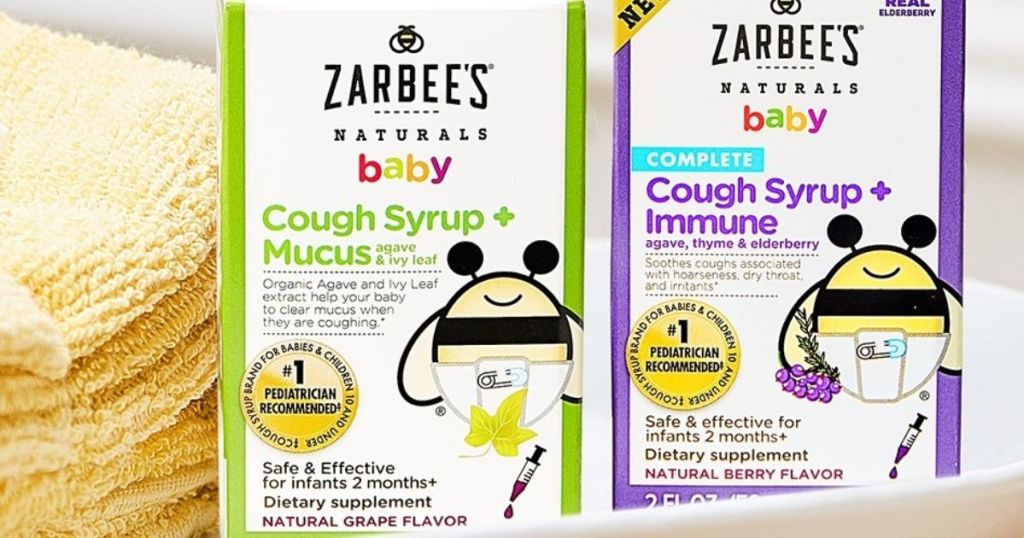 two boxes of Zarbee's Baby Cough Syrups