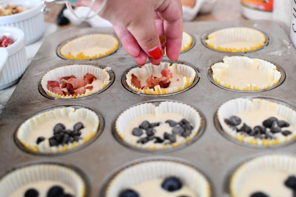 adding bacon to pancake muffins