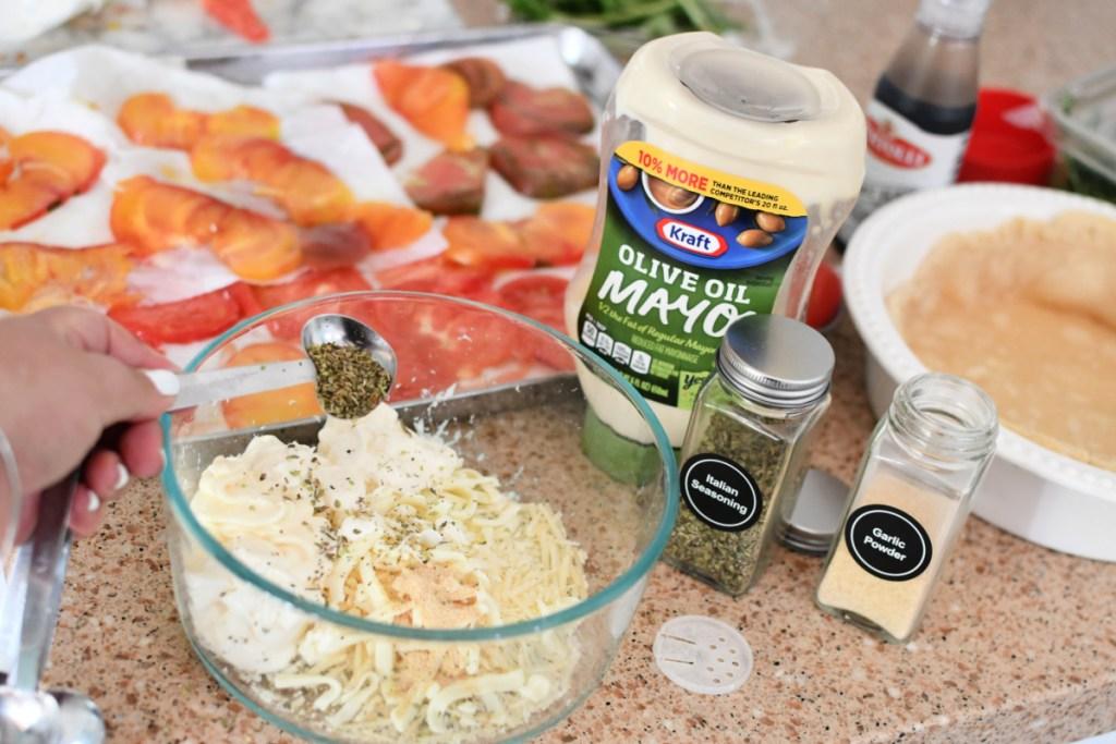 adding herbs to mayo for tomato pie
