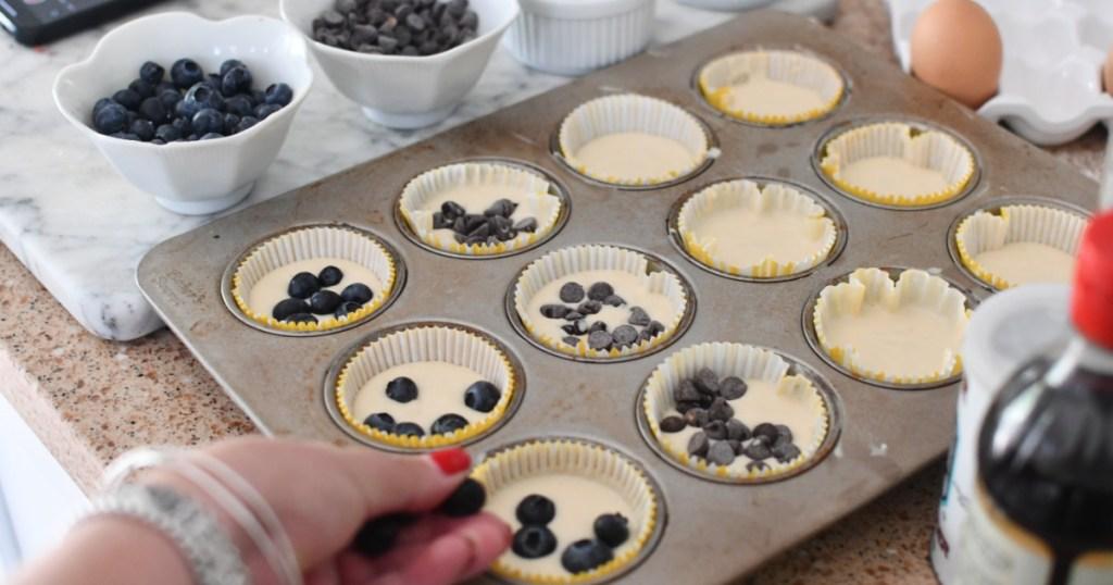 adding mix ins to pancake muffins