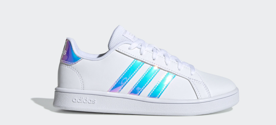 white and blue kids sneakers