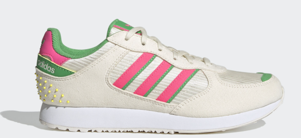 tan, pink, green and white adidas sneaker