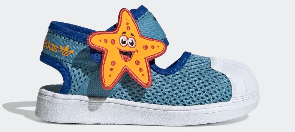 blue kids sandal with a starfish on it