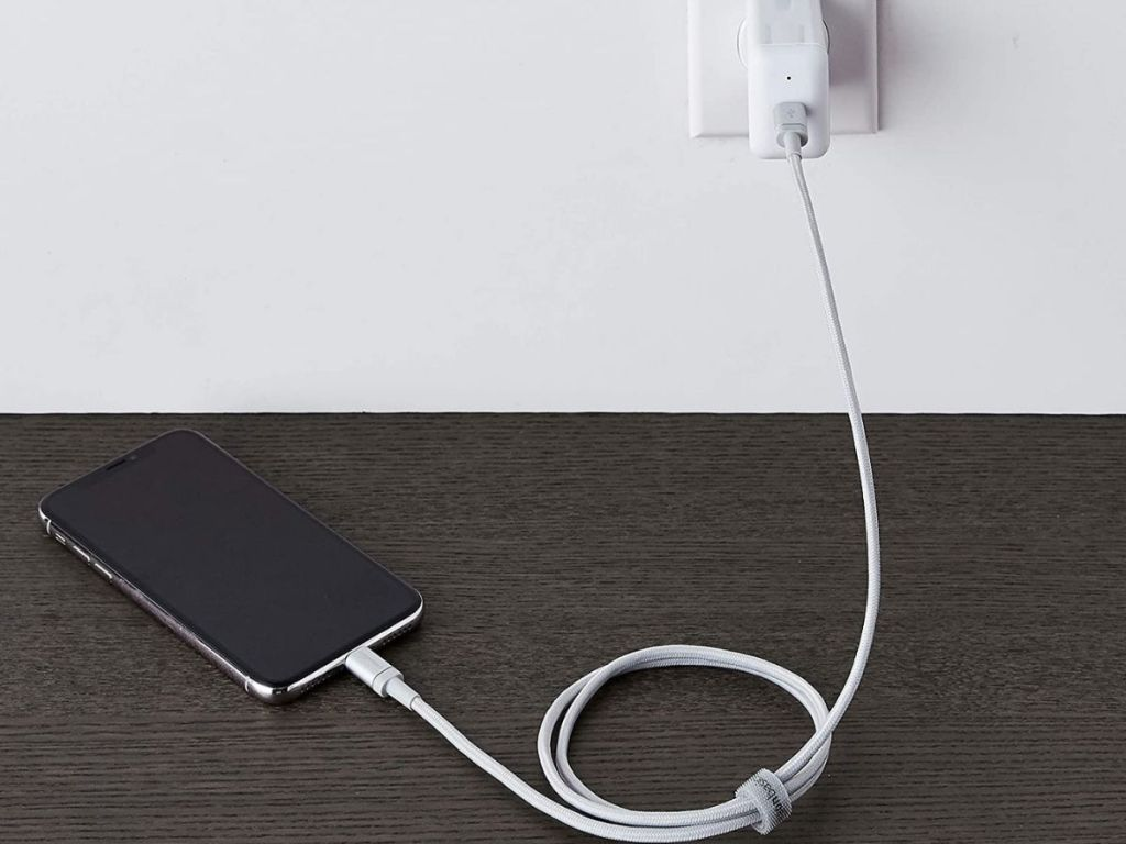 phone plugged into wall charger