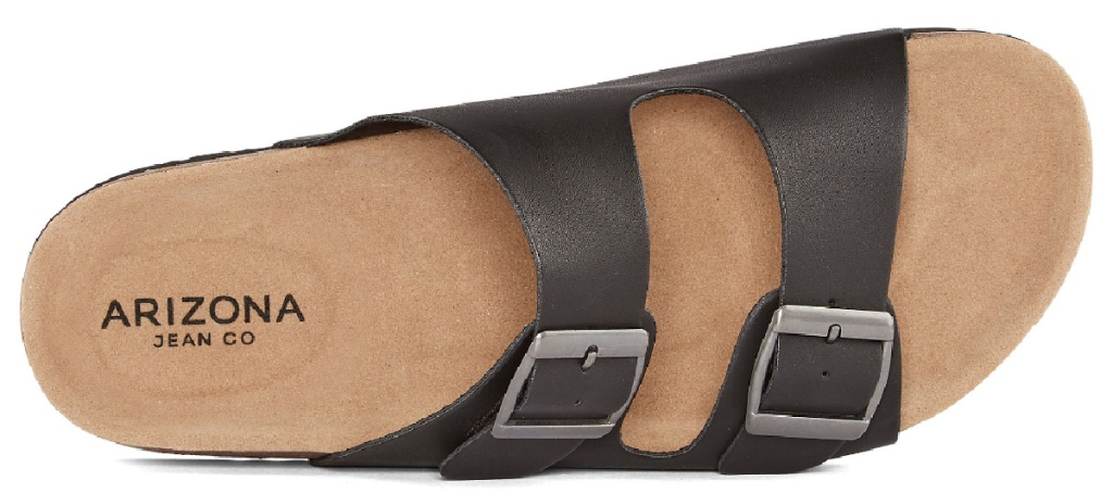 pair of cork bed sandals with black straps