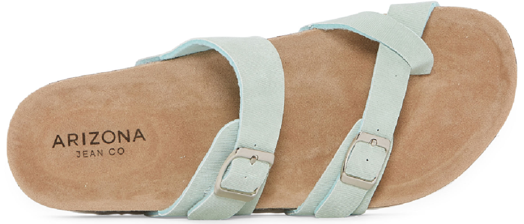 corkbed foot sandal with light blue straps