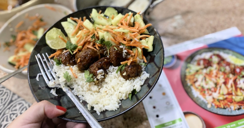bahn mi bowl with meatballs