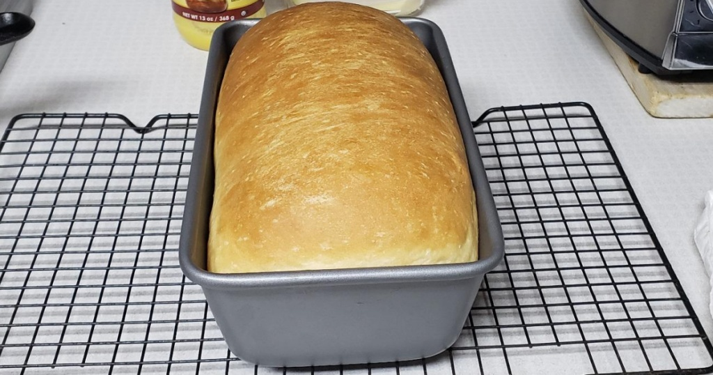 baking pan with bread in it fresh from the oven