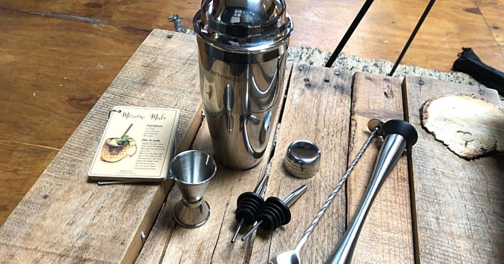 bar shaker set on wood table