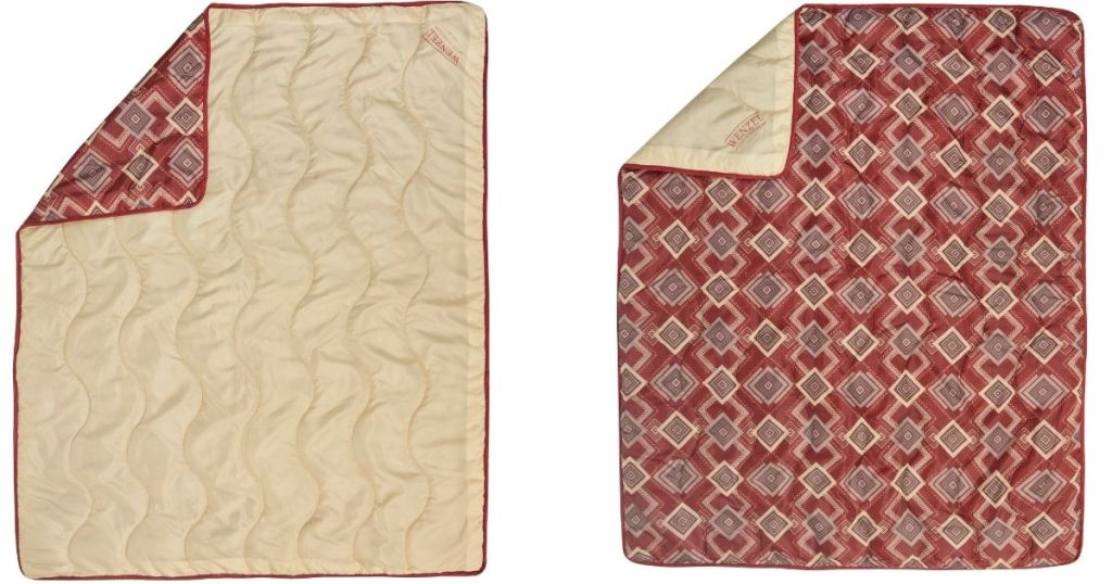 bottom and top of red geo print camp quilt