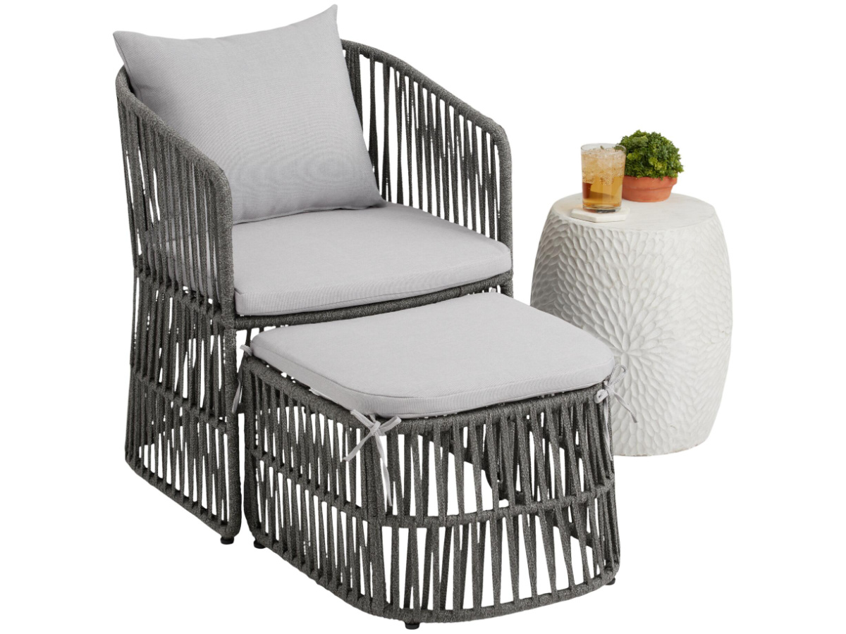 gray canvas chair and ottoman