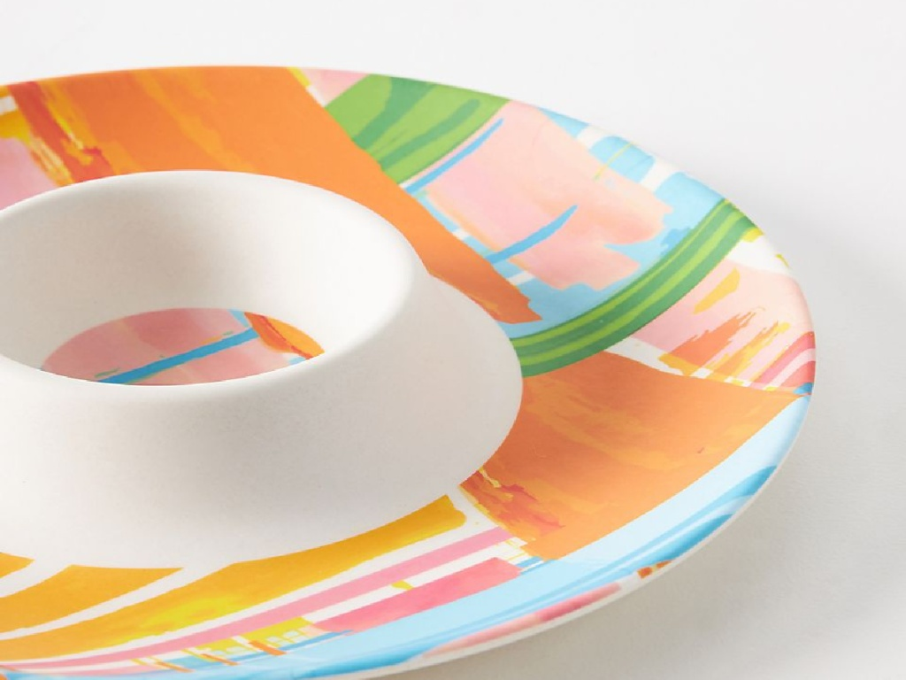 colorful chip and dip platter
