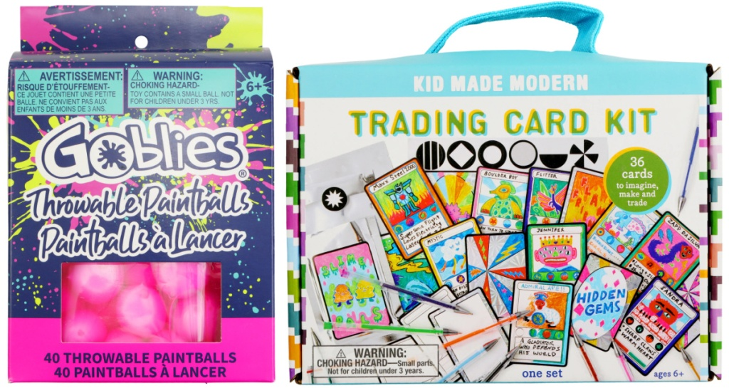 clearance Goblies Throwable Paintballs and Kid Made Modern Trading Card Kit at michaels