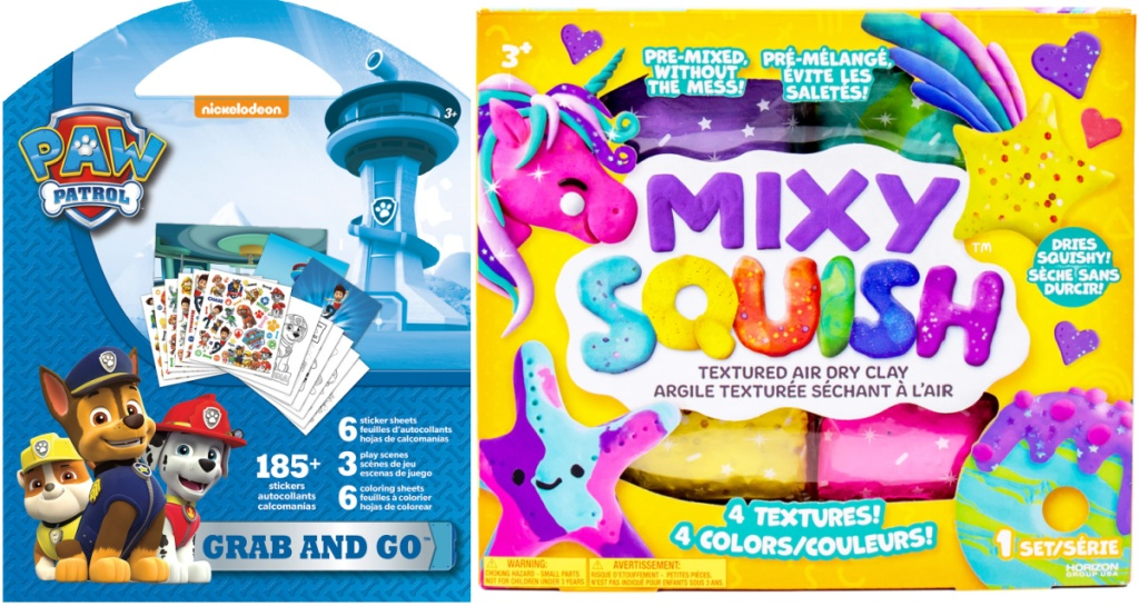 clearance PAW Patrol Grab & Go Play Pack and Mixy Squish Textured Air Dry Clay Pastel Pack at michaels