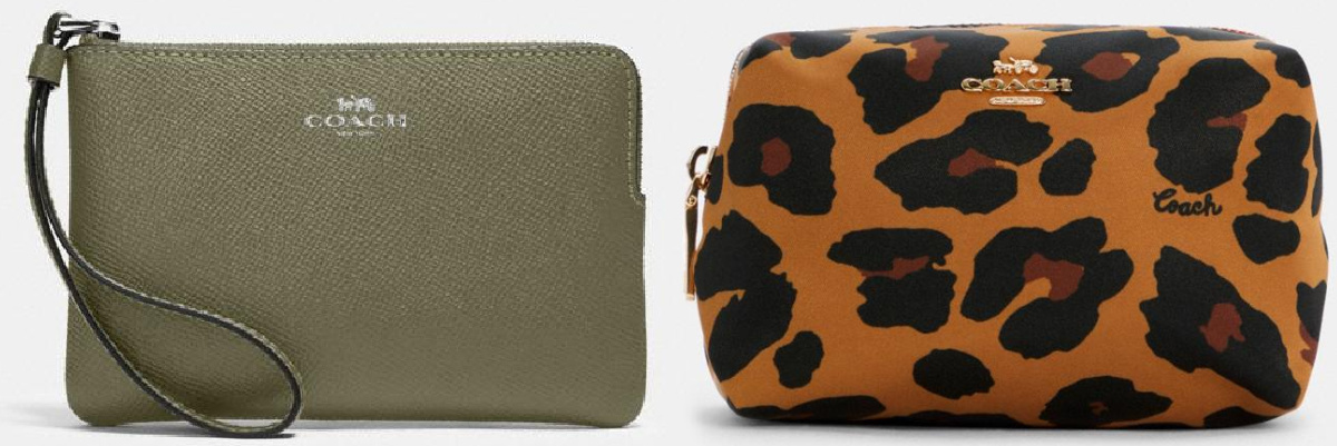green and leopard coach wallets