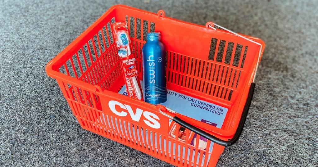 colgate toothbrush and mouthwash in cvs basket
