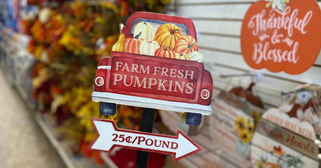 farm fresh pumpkins sign from Dollar Tree