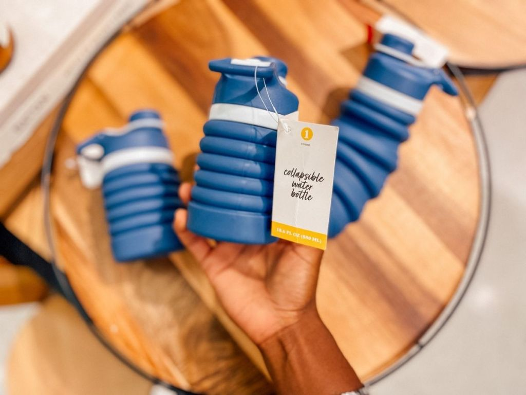 blue collapsible water bottles