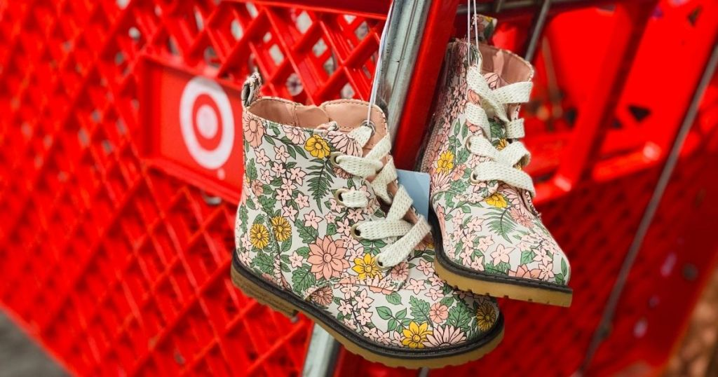 pair of flower combat boots on a Target cart