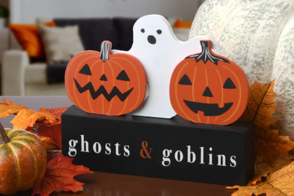 wooden ghost table sign