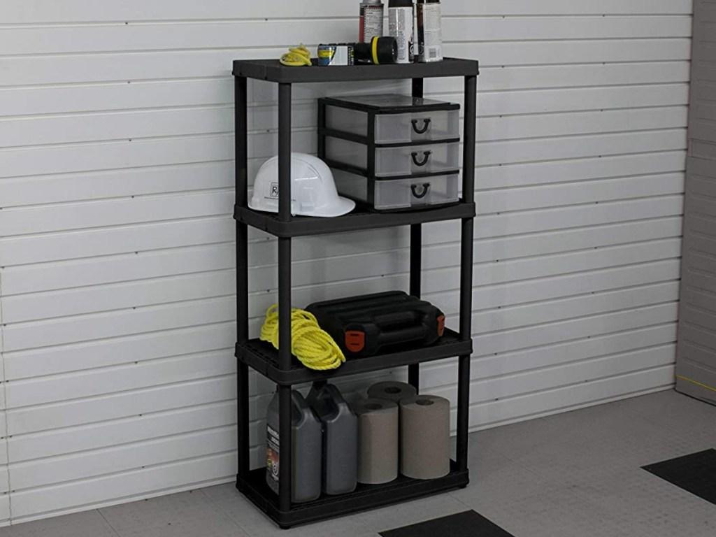 black shelving unit in garage