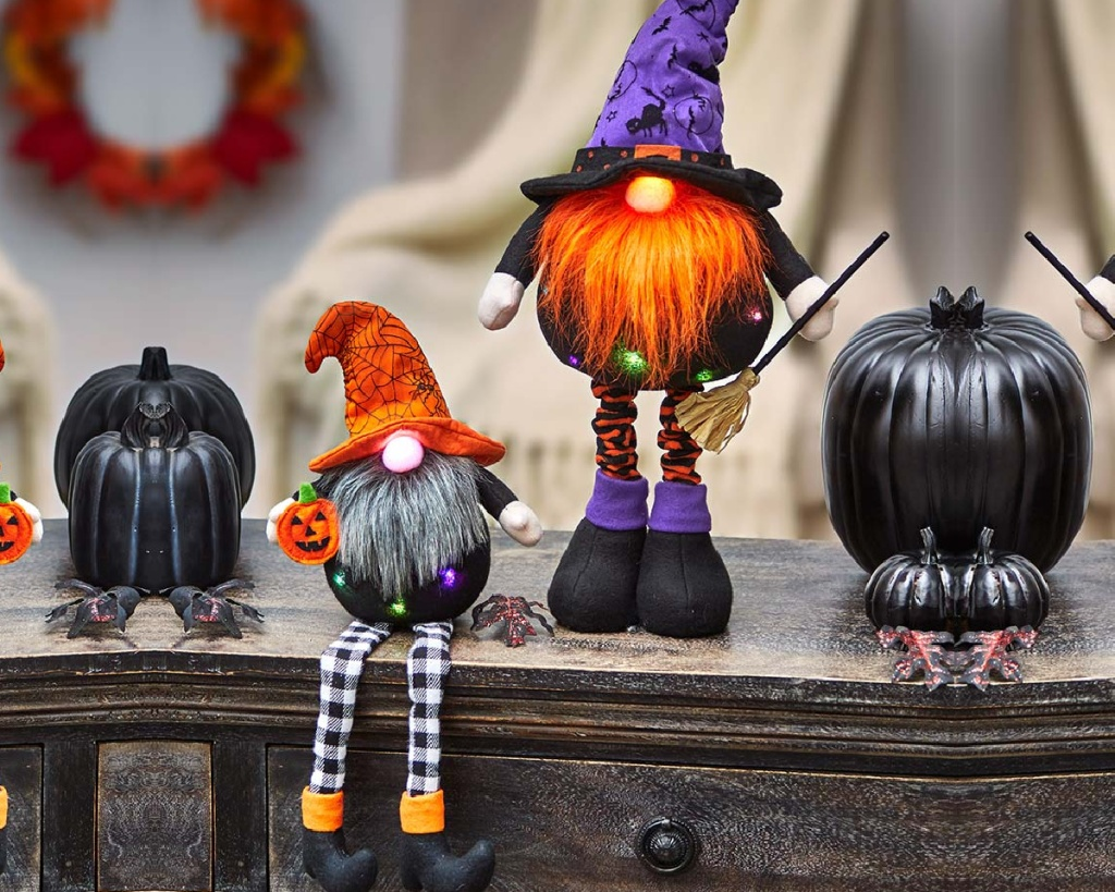 halloween gnomes sitting or standing