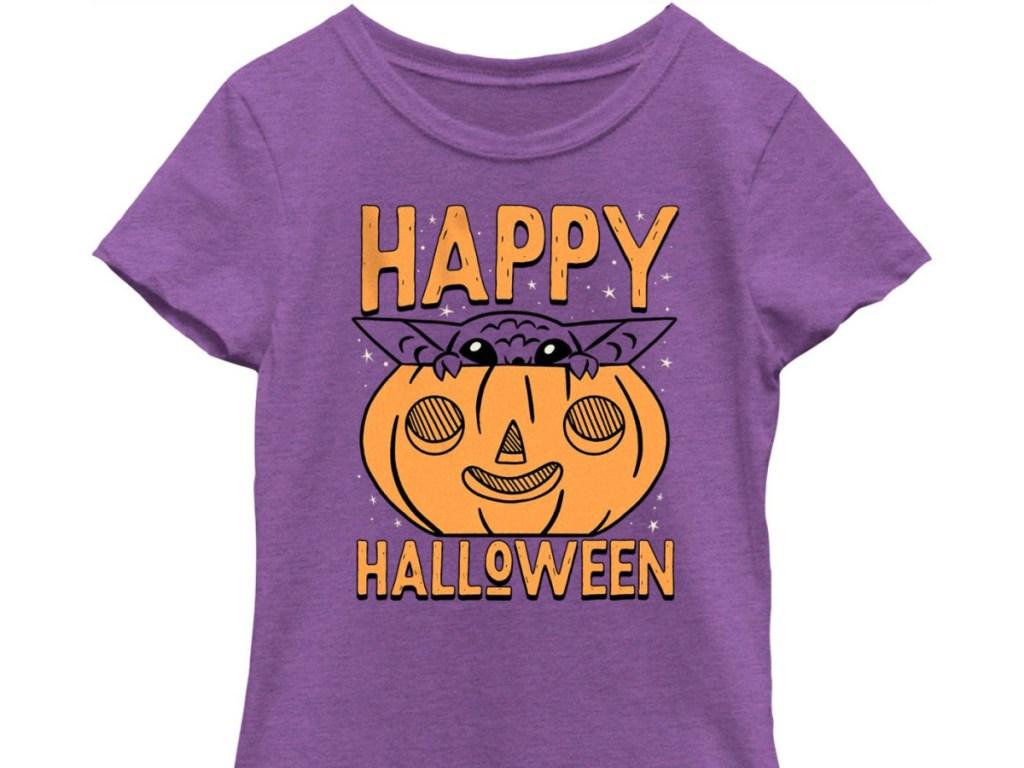 Baby yoda in a pumpkin t shirt