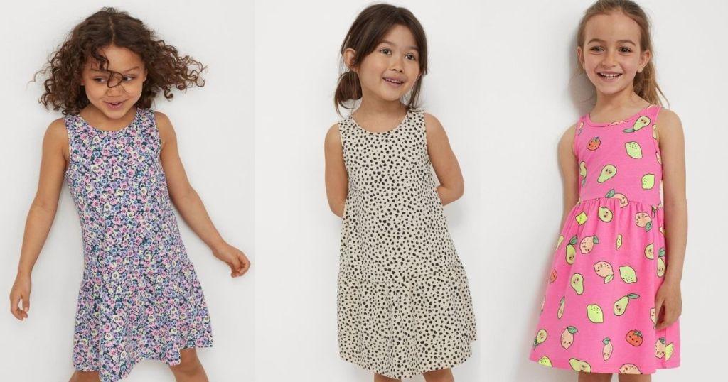 kids wearing patterned dresses