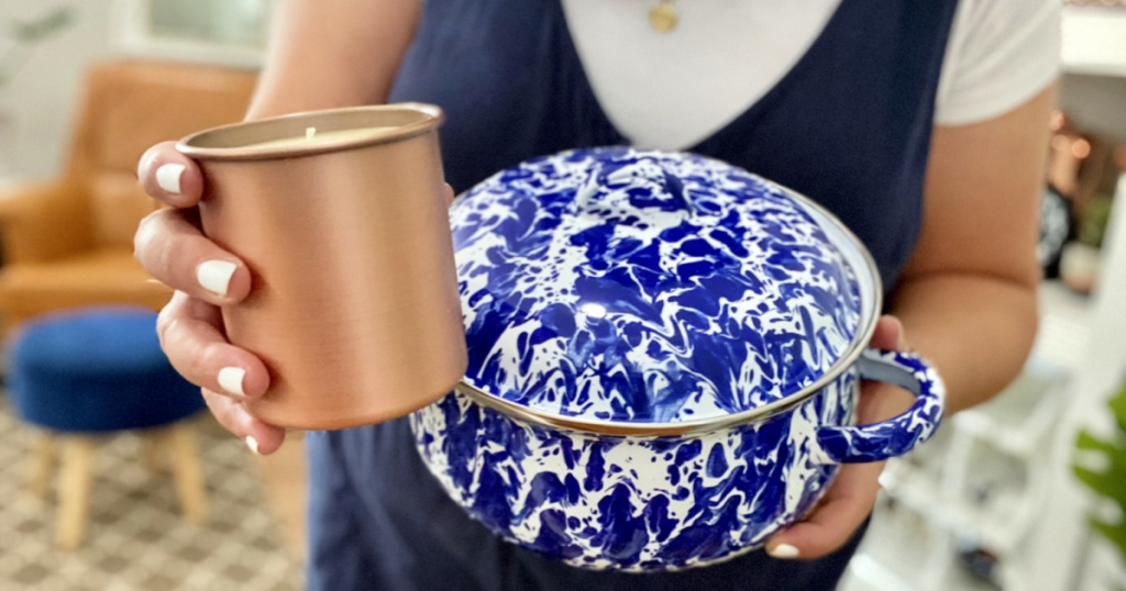 holding dutch oven and copper candle