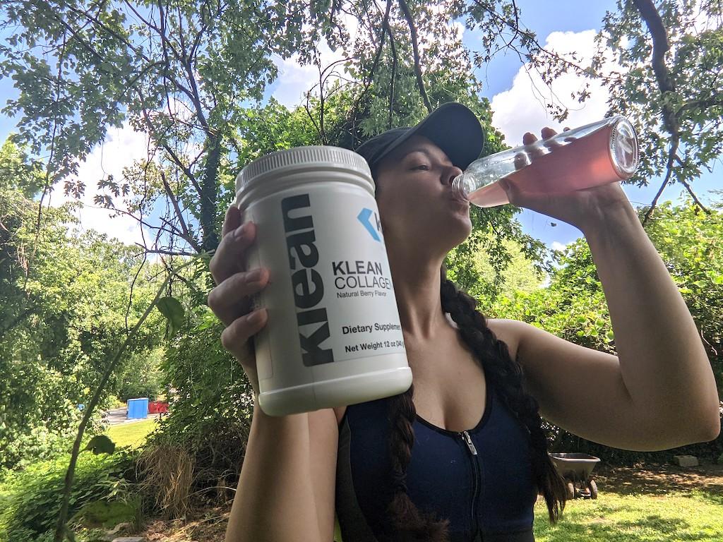 woman drinking Klean Collagen