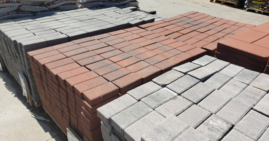 brick pavers stacked up outside