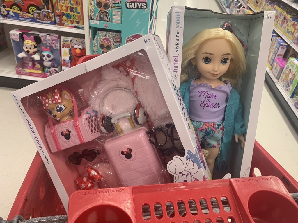 Disney-inspired doll and accesories in Target cart
