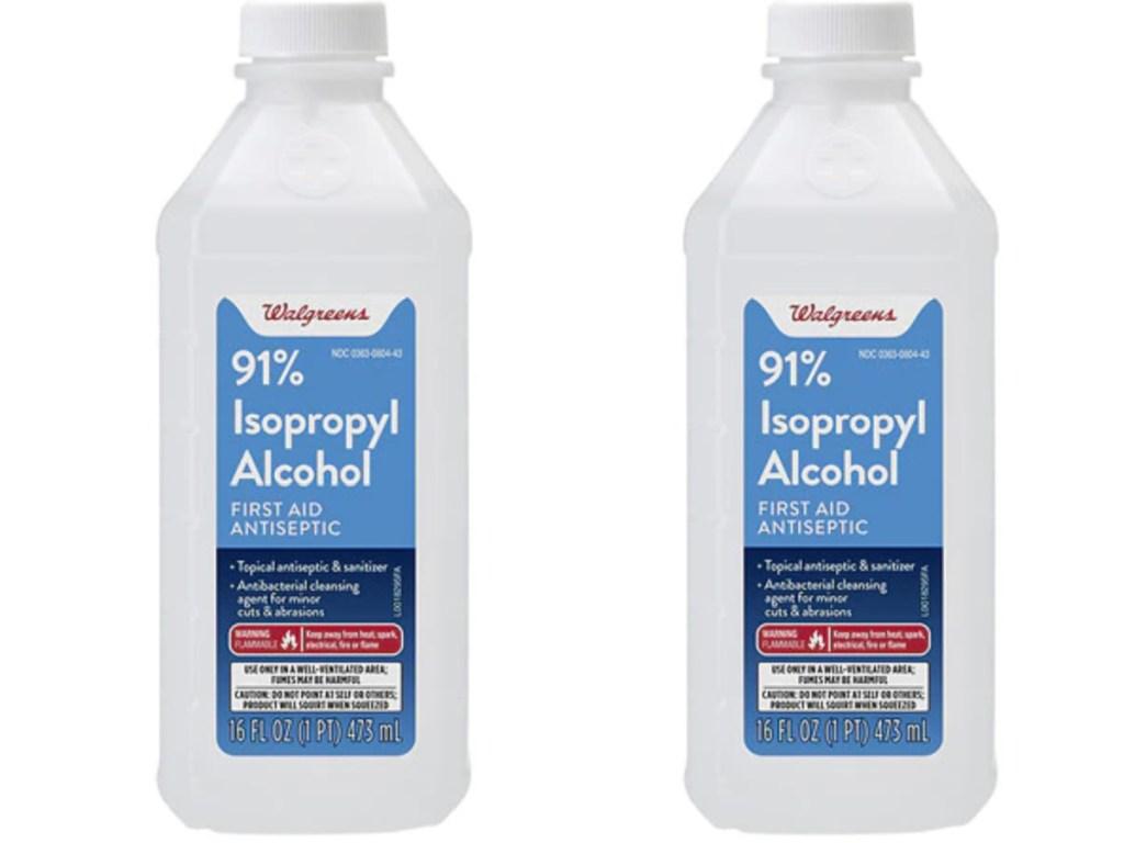2 bottles of Walgreens isopropyl alcohol